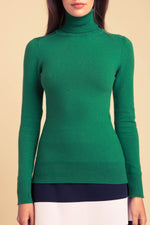 JoosTricot Solid Club Green Peachskin Turtleneck