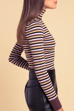 JoosTricot Striped Brown & Gold Turtleneck