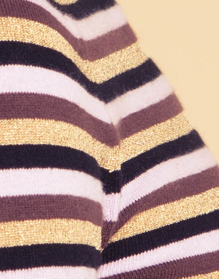 Lavender & Gold Lurex Striped Turtleneck