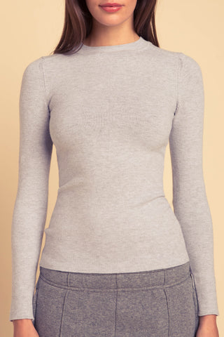 JoosTricot Solid Light Grey Peachskin Crew Neck