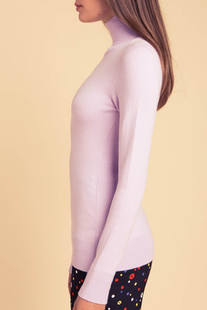 JoosTricot Solid Mauve Peachskin Turtleneck