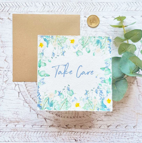 Take Care Handmade Paper Greetings Card