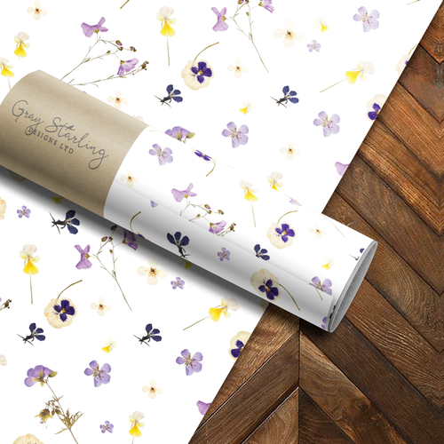 Purple Pressed Flowers Wrapping Paper