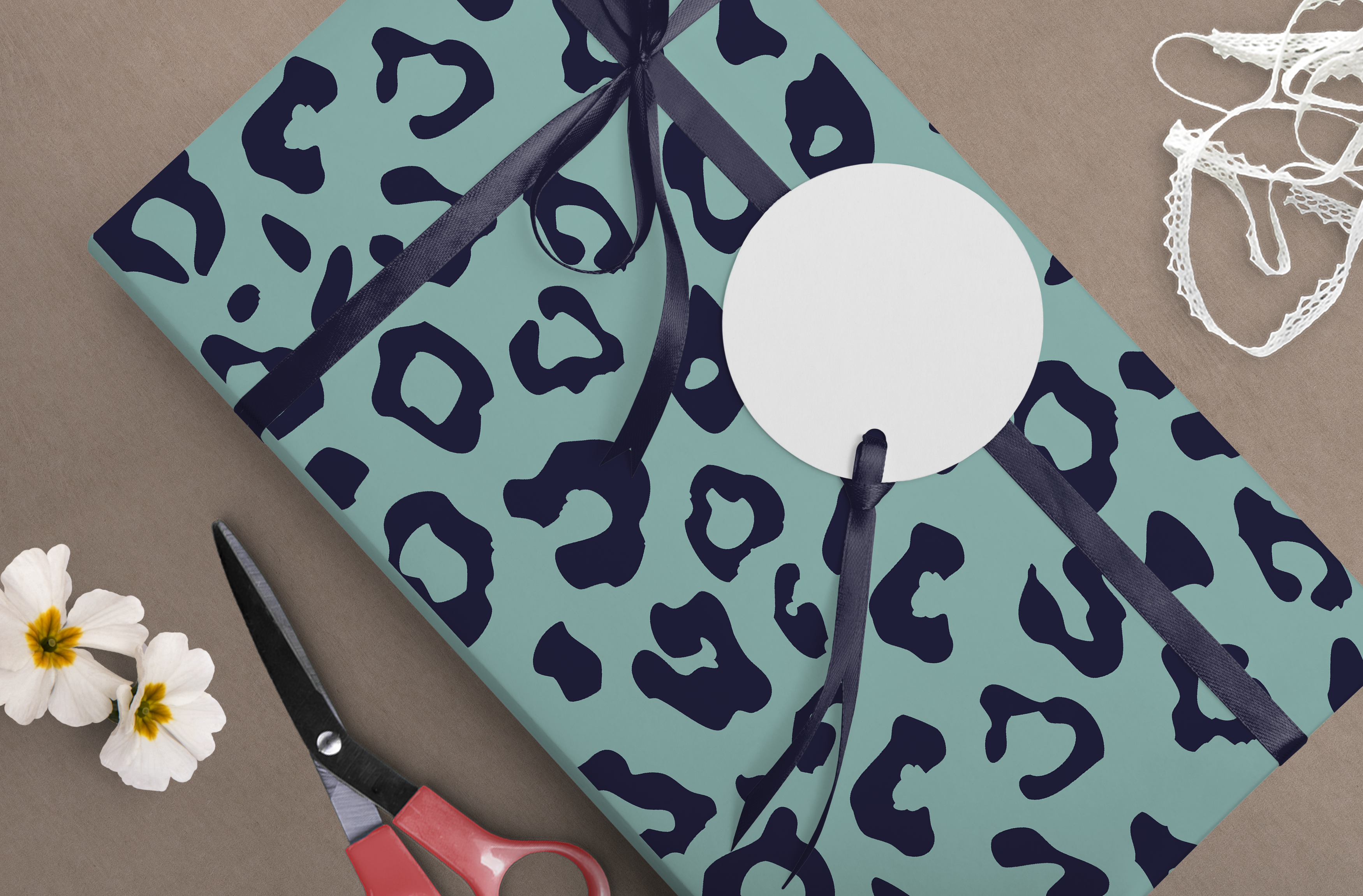 Aqua & Navy Leopard Wrapping Paper