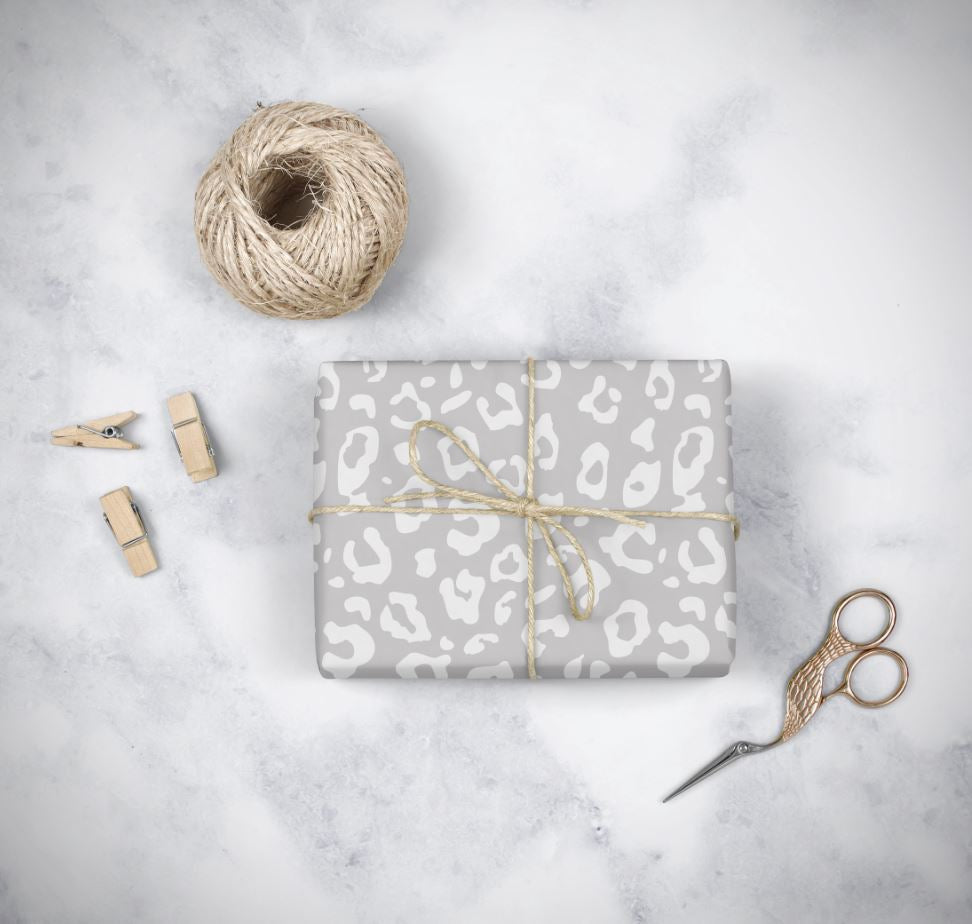 Grey Leopard Wrapping Paper