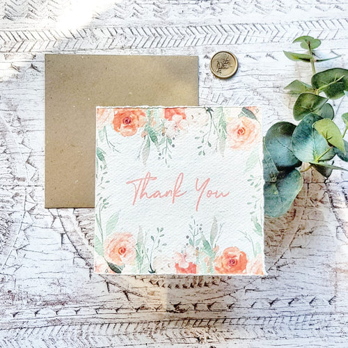 'Thank You' Handmade Paper Greetings Card