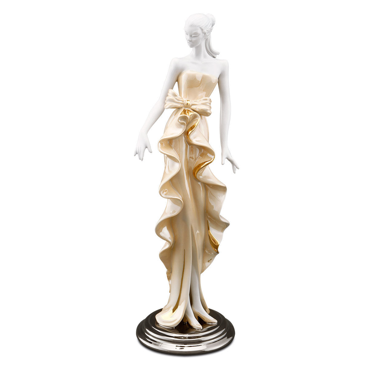 Statua donna top model in ceramica