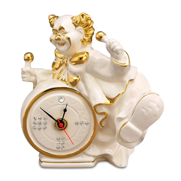 Clown statua in ceramica con orologio