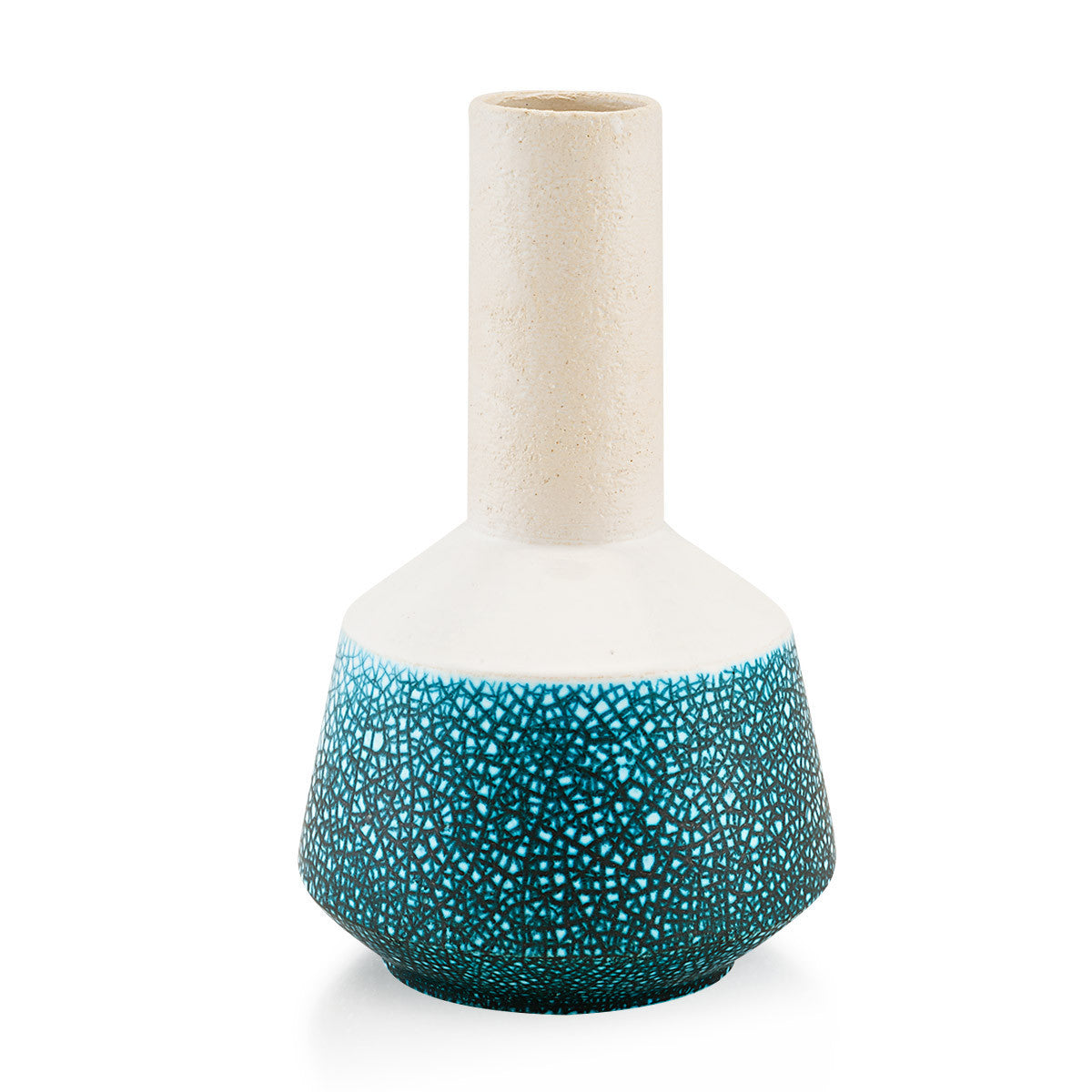 Vaso design moderno in ceramica crackle oceano