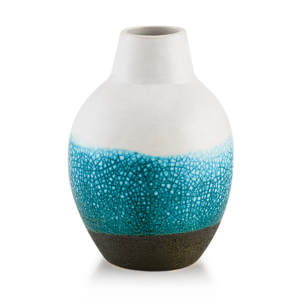 Vaso piccolo design in ceramica crackle oceano