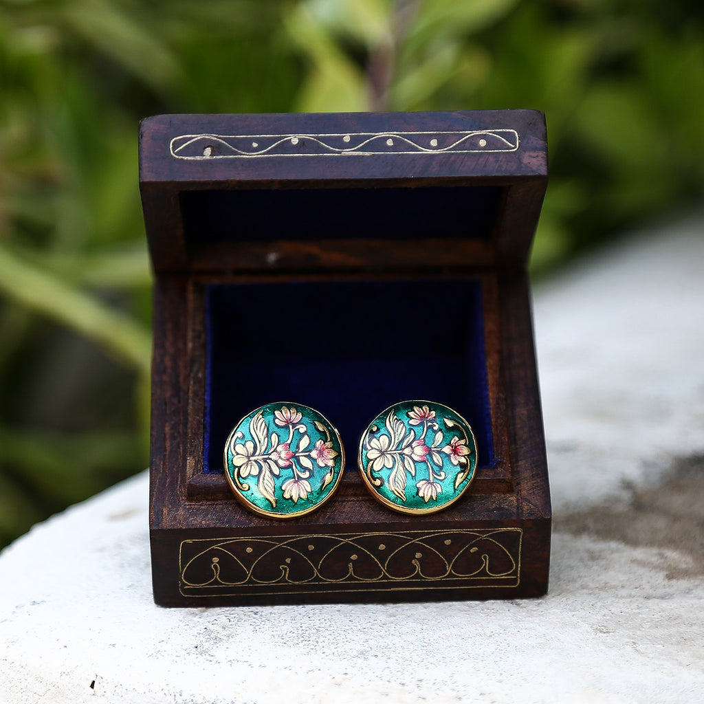 Green Coloured Silver Meenakari Cufflinks with Floral Design