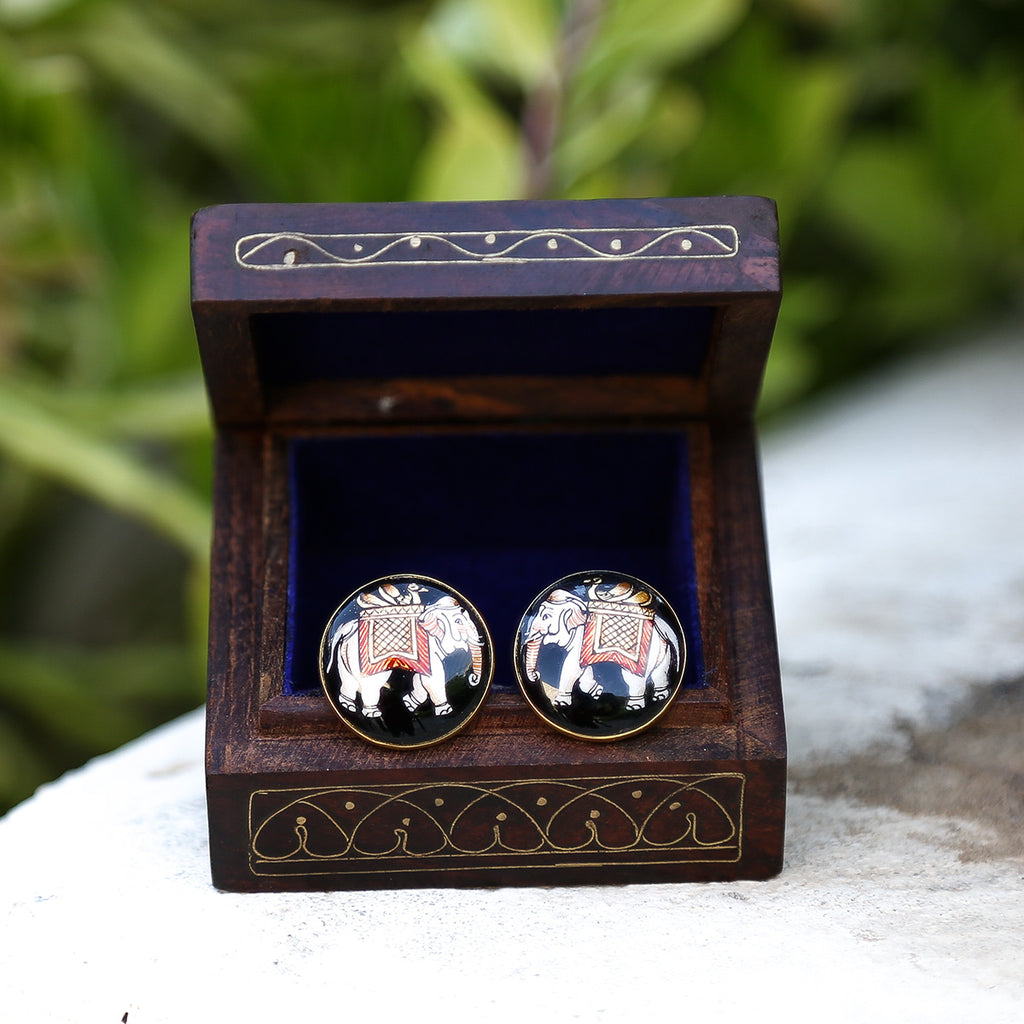 Black Coloured Silver Meenakari Cufflinks with Elephant Design