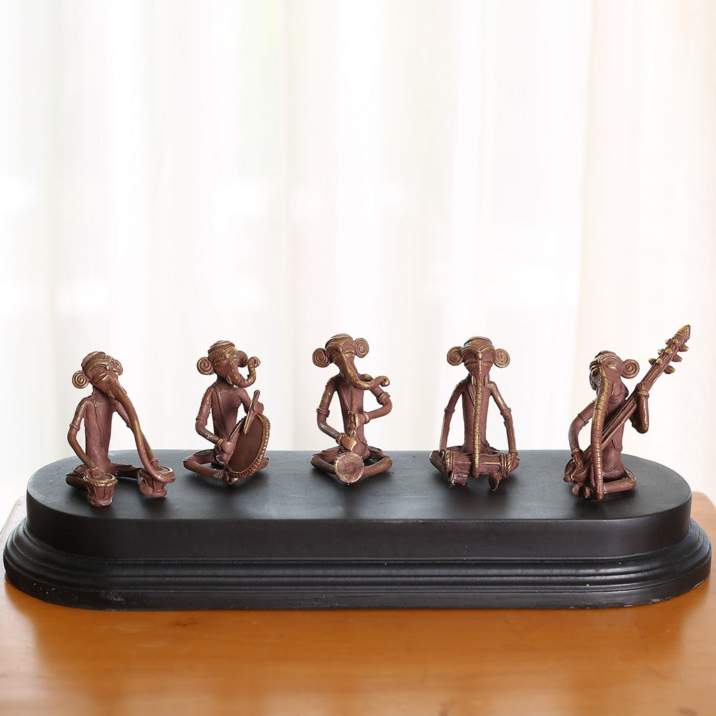Musician Ganeshas in Dokra Art from Bastar with Wooden Base