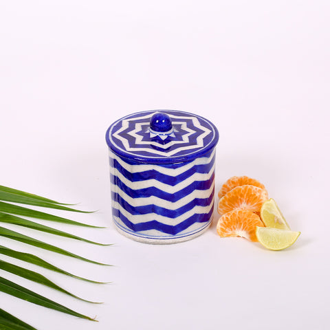 Blue Cotton Box of Jaipur Blue Pottery with waves design