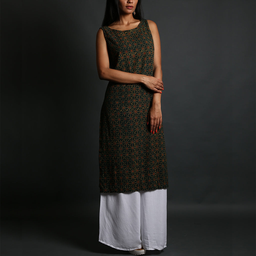 Green Coloured Ajrakh Hand Block Printed Sleeveless Kurta