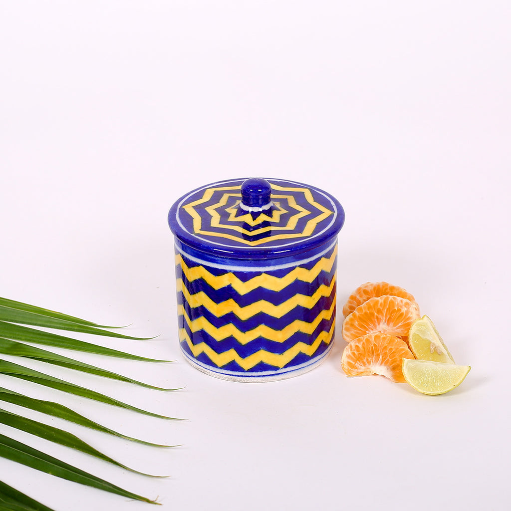Blue and Yellow Cotton Box of Jaipur Blue Pottery with waves design