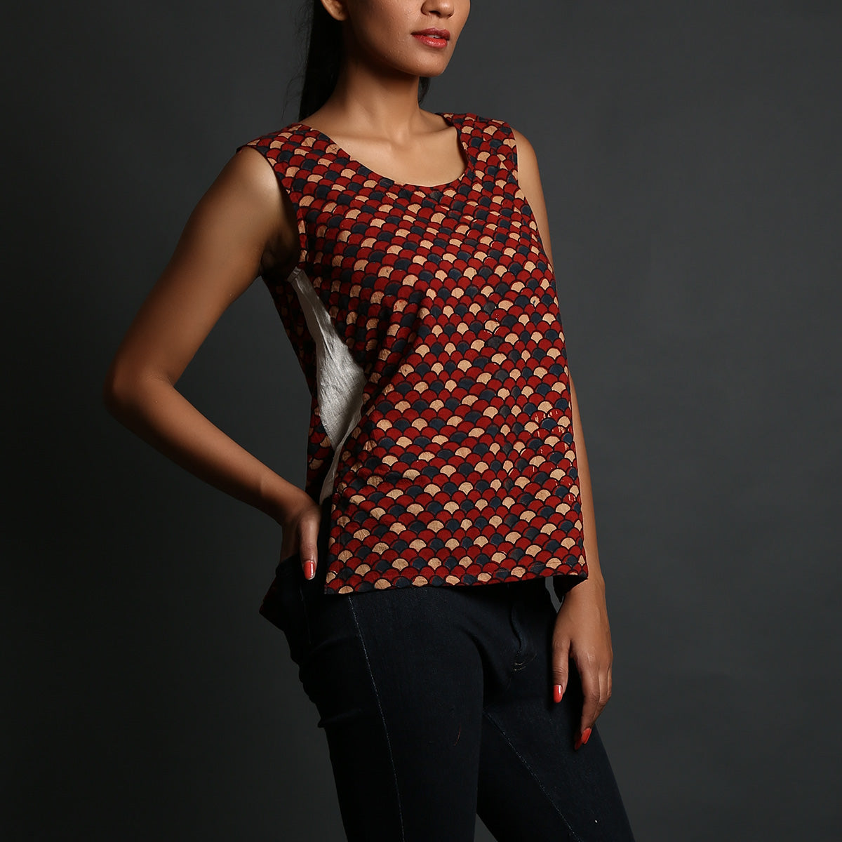 Red Coloured with small scales Ajrakh Hand Block Printed Tank Top