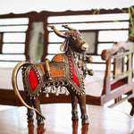 Brass Metal Decor of Five Legged Cow Big Size in Dokra Art from Bastar