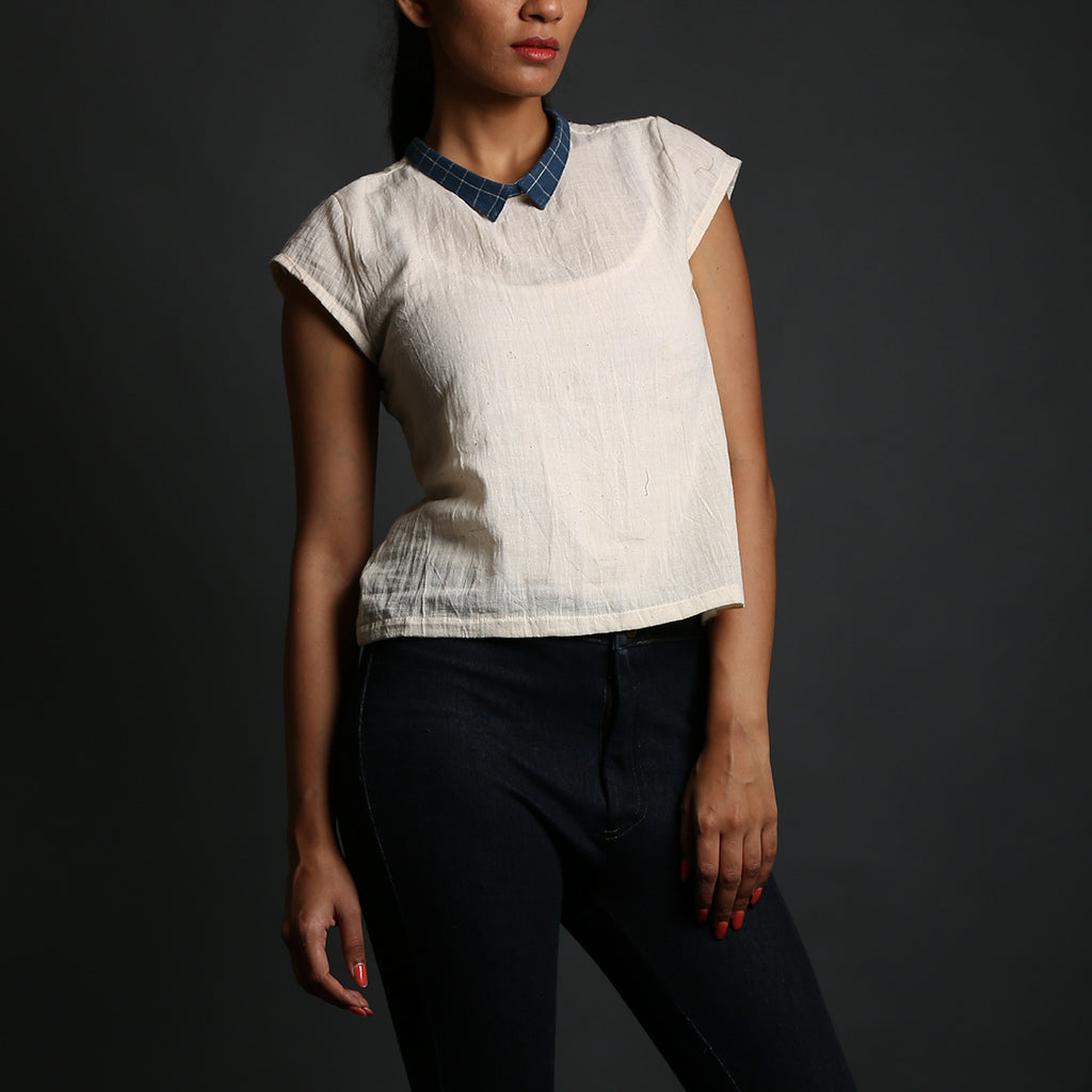 Off White Coloured with Indigo Collar Kala Cotton Short Shirt