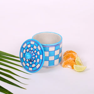 Blue Cotton Box of Jaipur Blue Pottery with checks design