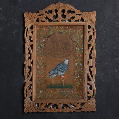 Indian Bird with Flower Border Miniature Painting by Kailashchand Kumavat 1