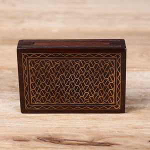 Card Wooden Box with Brass, Copper & Silver Metal Inlay Work