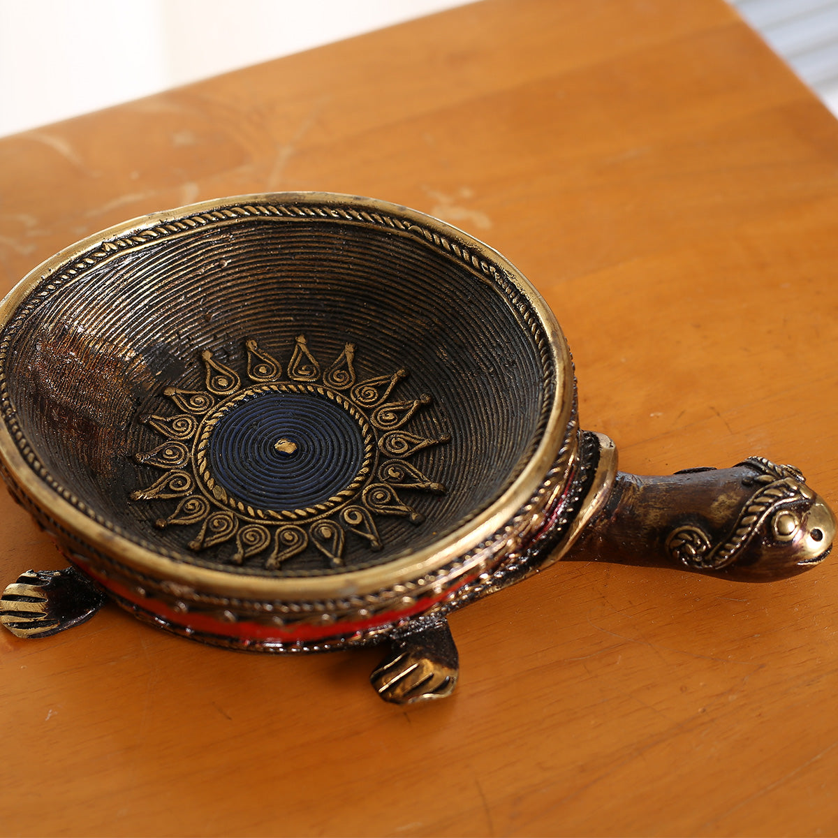 Tortoise Candle holder in Dokra art from Bastar-Red Color