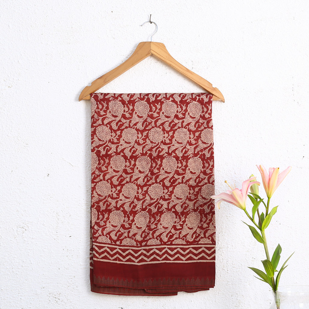 Bagru Hand Block Printed Naturally Dyed Chanderi Cotton Silk Saree 8
