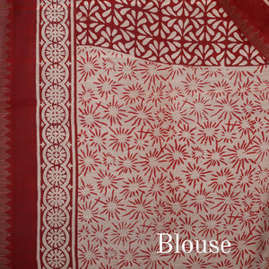 Bagru Hand Block Printed Naturally Dyed Chanderi Cotton Silk Saree 10