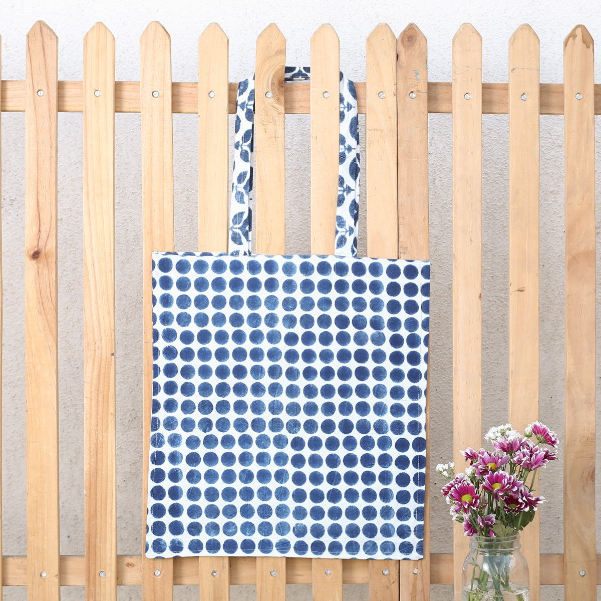 Hand Block Printed Naturally Dyed Organic Cotton Bag 1