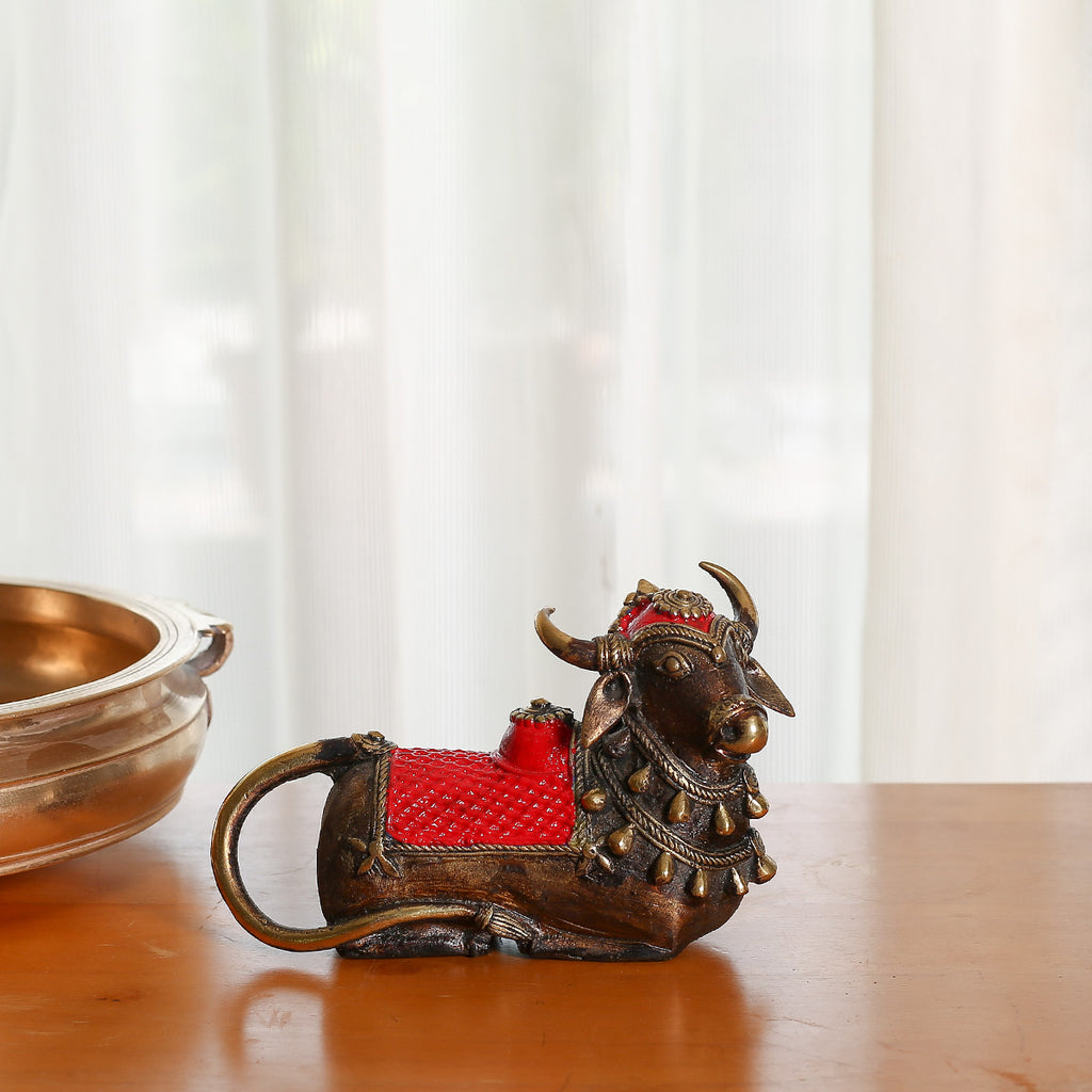 Red coloured Brass Metal Decor of small Nandi Bull in Dokra Art from Bastar