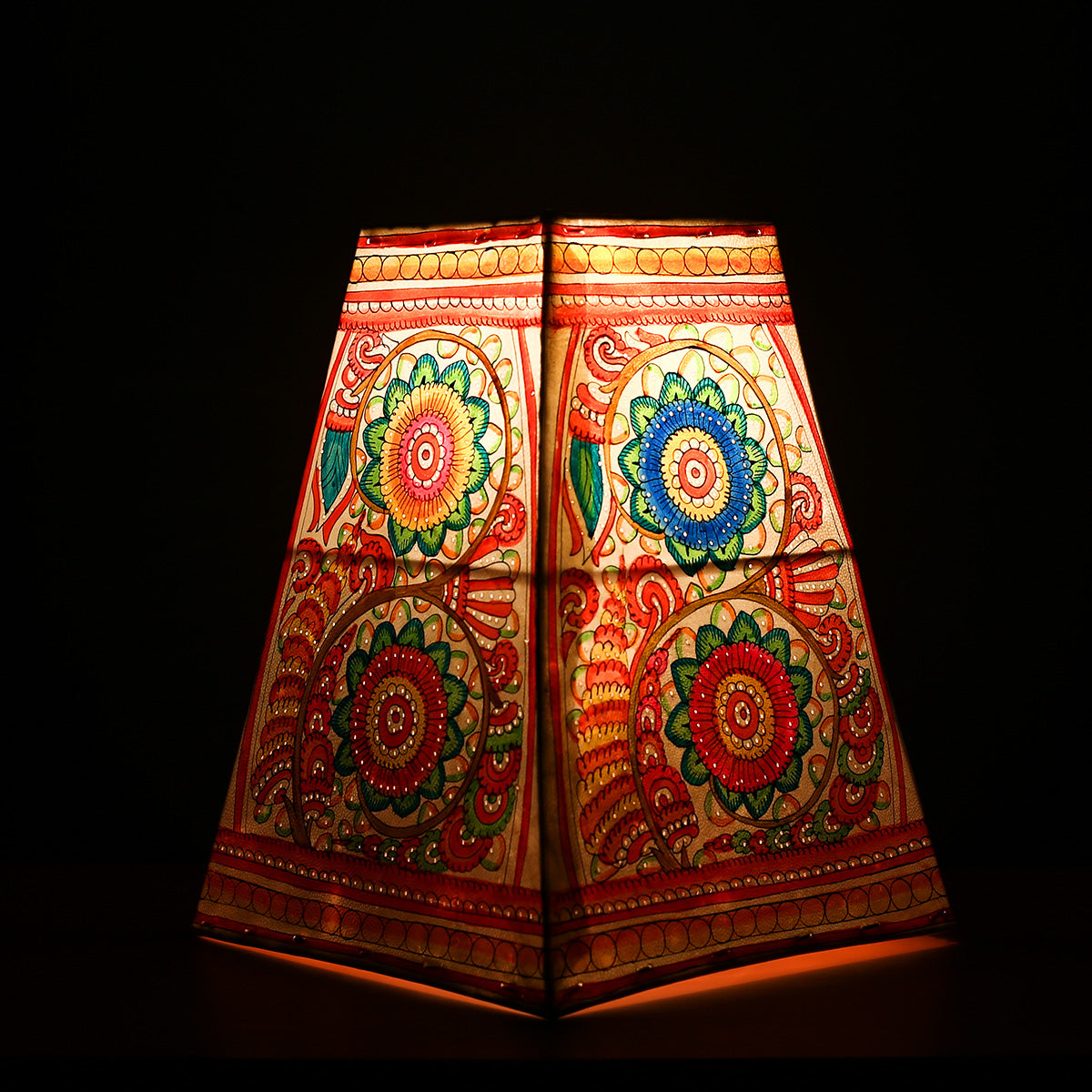 Big Andhra Pradesh Leather Lamp with Coloured Floral Design