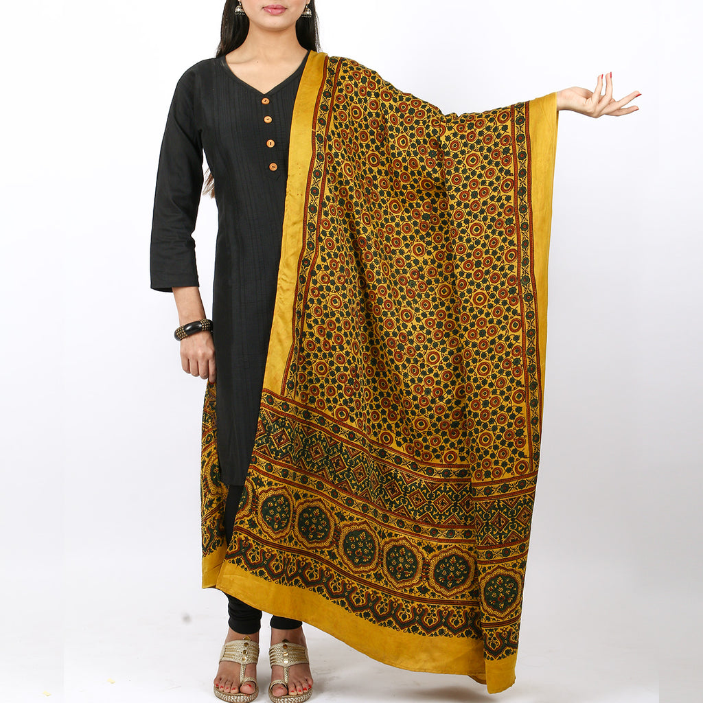 Ajrakh Natural Dyed Hand Block Printed Dupatta in Modal 25