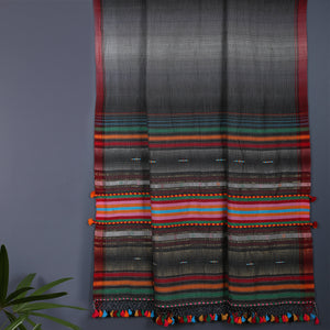 Grey Multi Coloured Kutch Handloom Saree in Pure Cotton
