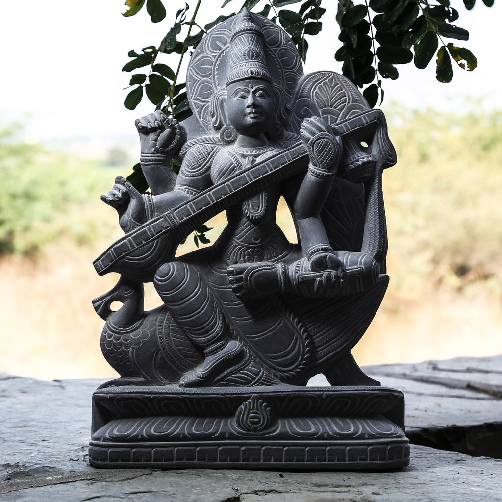 Devi Saraswati - Hand Carved Stone Idol from Durgi