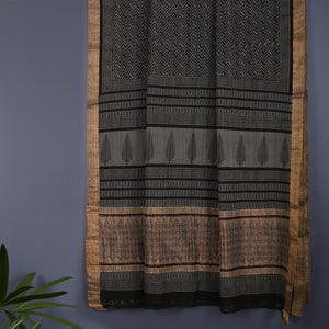Bagru Hand Block Printed Naturally Dyed Mangalgiri Cotton Saree 6