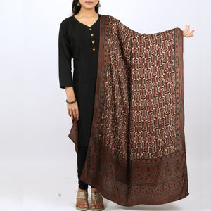 Ajrakh Natural Dyed Hand Block Printed Dupatta in Modal 20