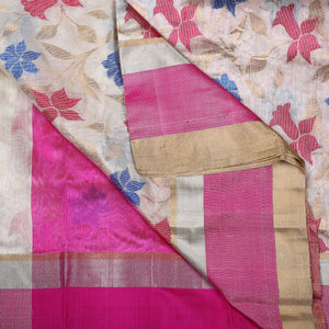 Chanderi Handloom Saree with Blouse in Silk 2