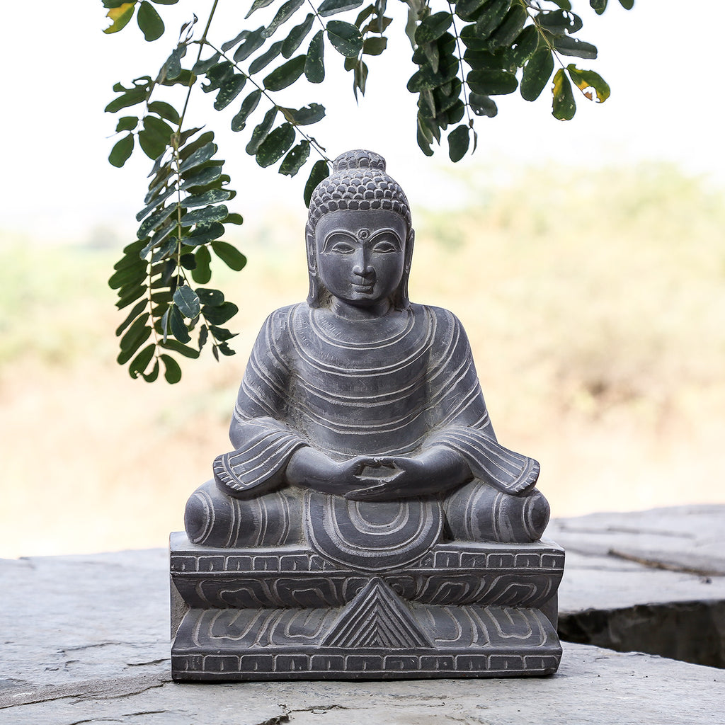 Lord Buddha - Hand Carved Stone Idol from Durgi
