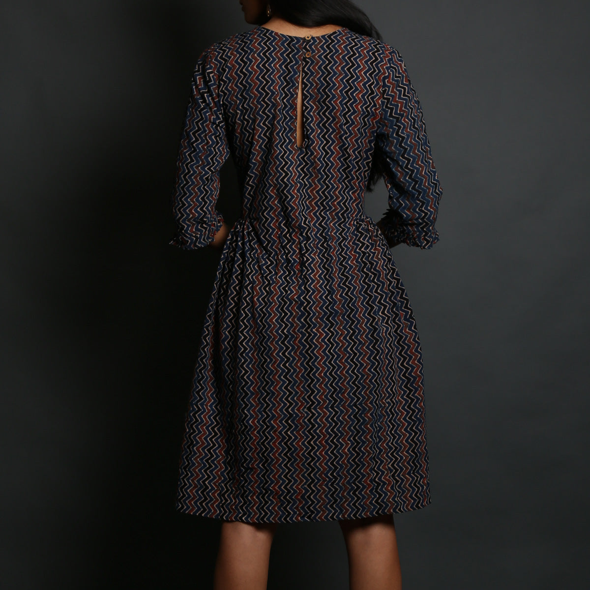 Indigo Coloured Chevron Ajrakh Hand Block Printed Side Gathered Dress