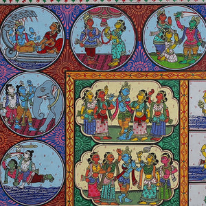 Pattachitra Painting of 'Lord Krishna Life story and Dus Avataram' by Narayan Das