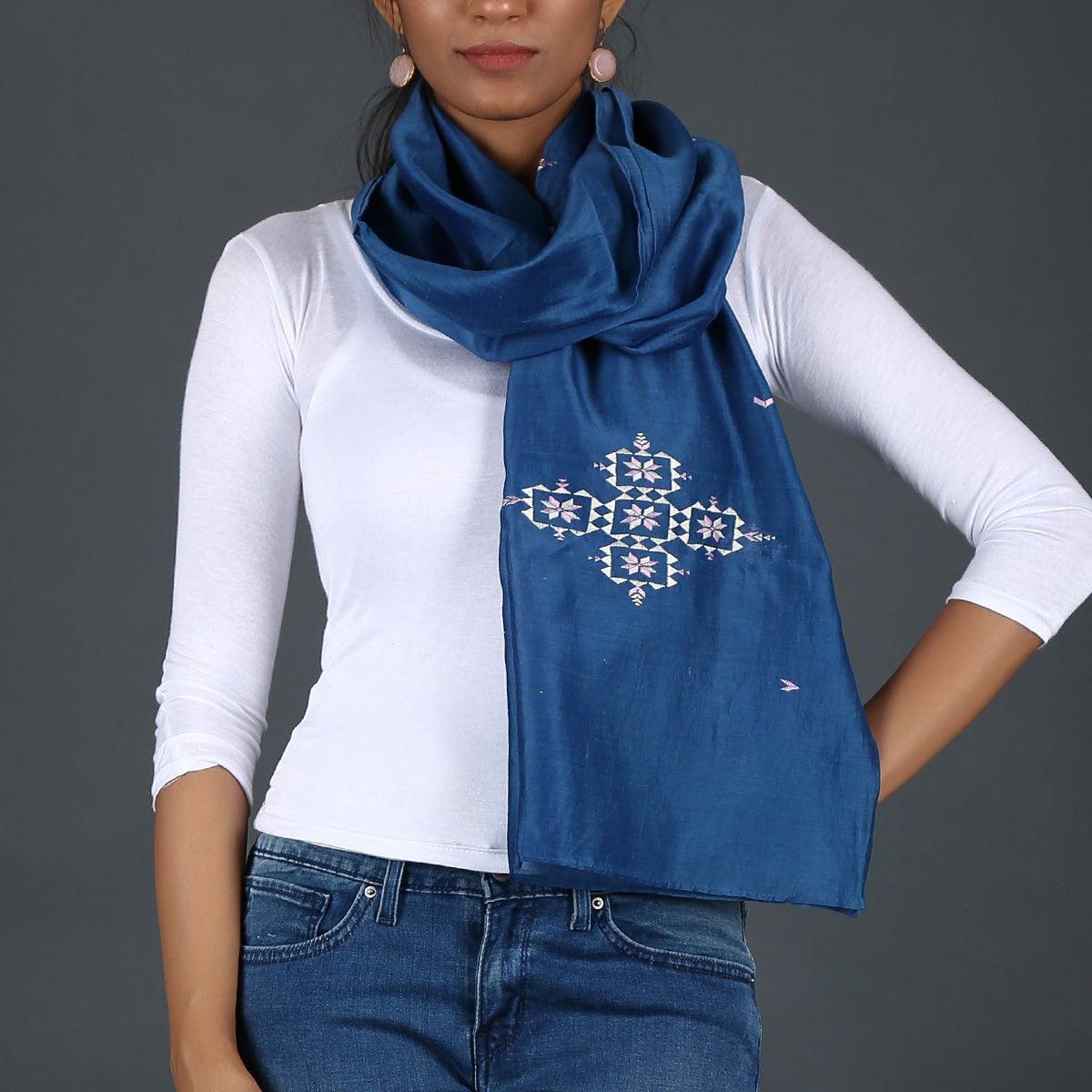 Indigo coloured Suf Embroidered Stole in Maheshwari Cotton Silk 2