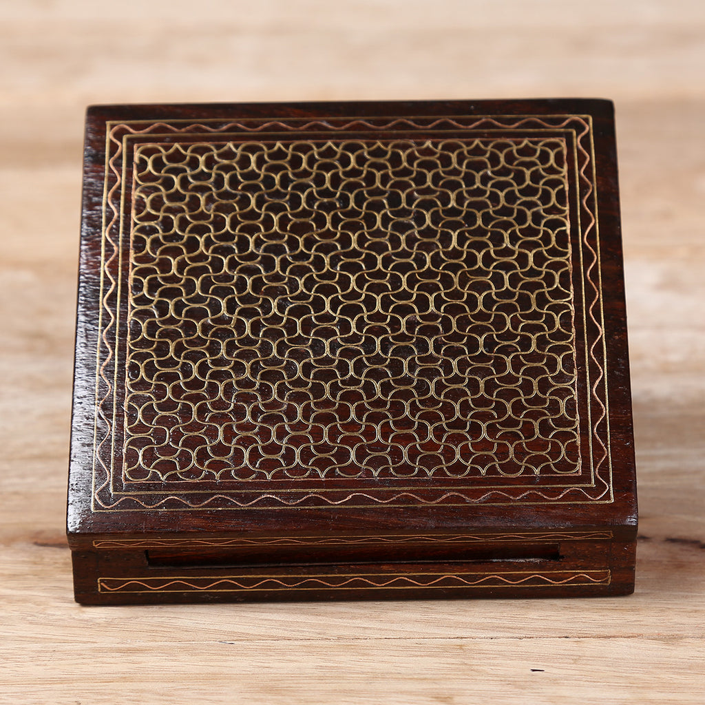 Two Pack Cards Wooden Box with Brass Metal Inlay Work