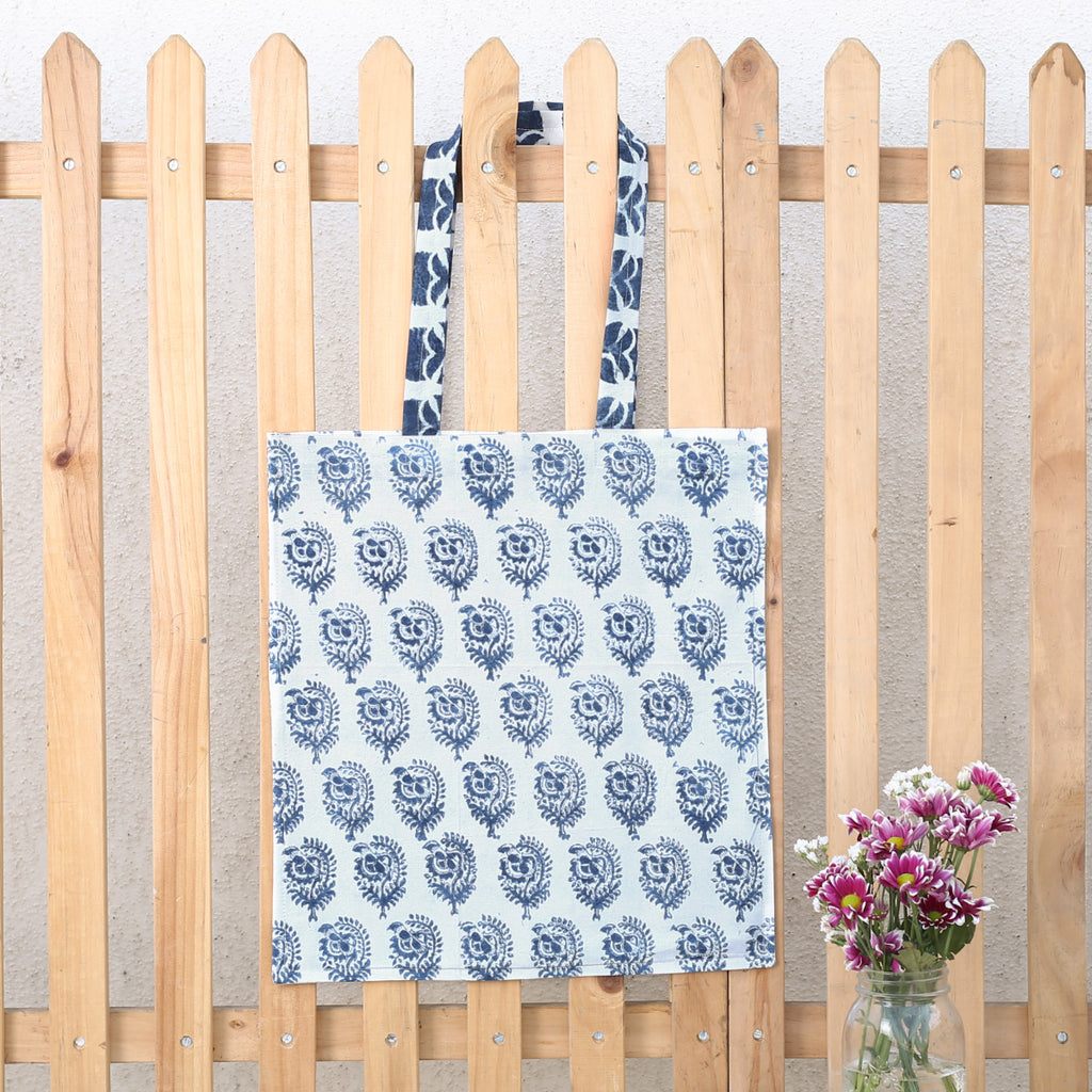 Hand Block Printed Naturally Dyed Organic Cotton Bag 3