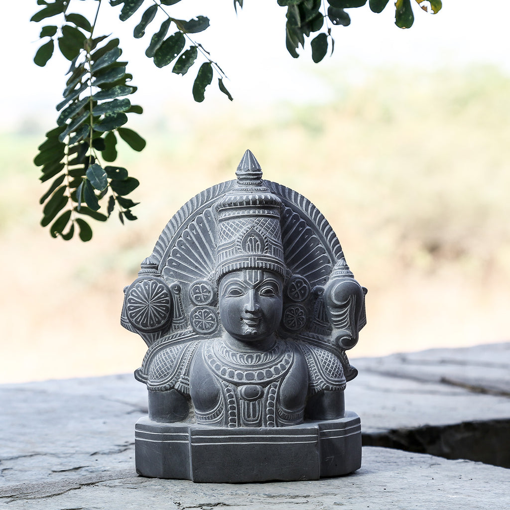 Lord Venkatesh - Hand Carved Stone Idol from Durgi