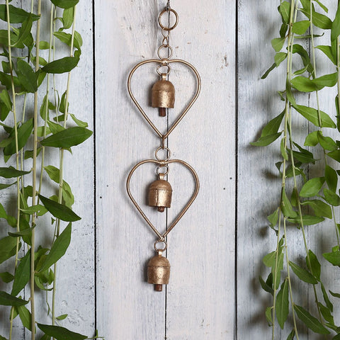 Kutch Metal Bell Wind Chimes - 3 Bell Heart Design