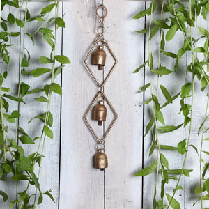 Kutch Metal Bell Wind Chimes - 3 Bell Rhombus Design