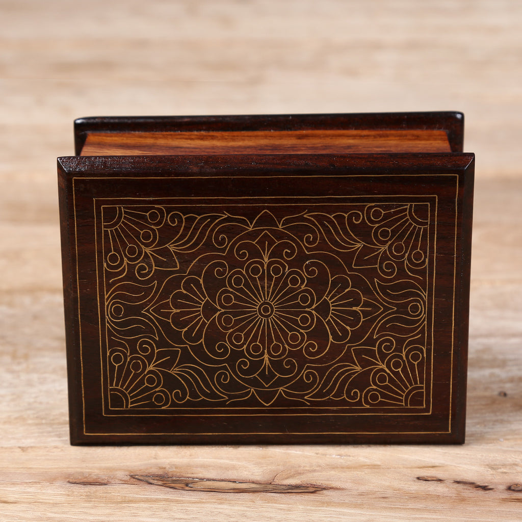 Wooden Box with Brass Metal Inlay Work with Border