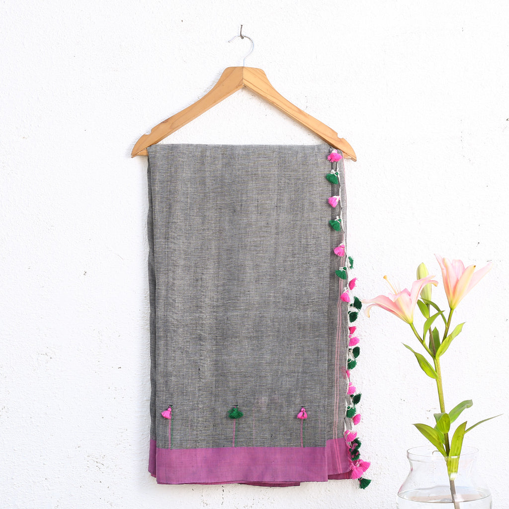 Phulia Handloom Saree with Blouse in Cotton Linen 3