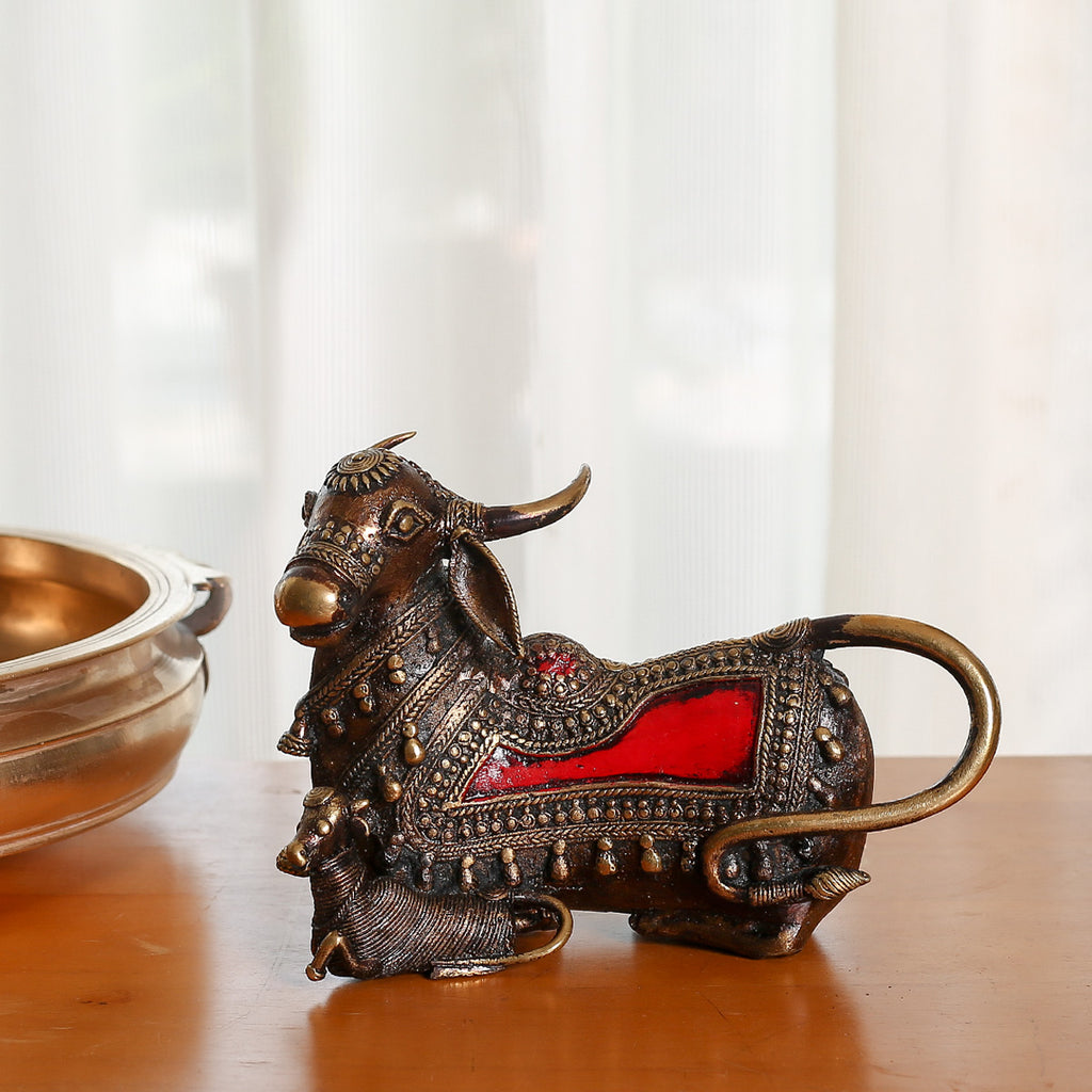 Red coloured Brass Metal Decor of Cow with Calf in Dokra Art from Bastar